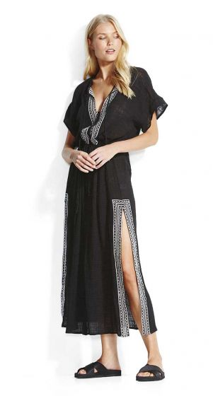 Seafolly Sun Worship Embroidered Maxi Shirt Dress
