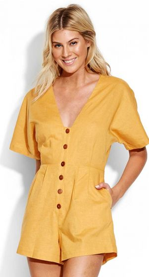 Seafolly Cut Copy Button Front Playsuit