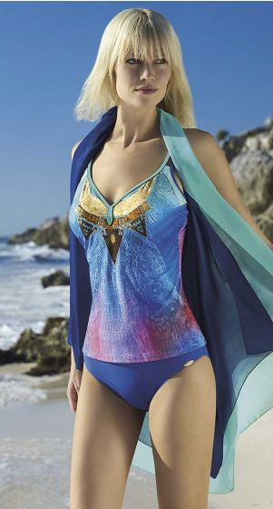 Sunflair Copper Sunset D Cup Fitting V Front Tankini Set