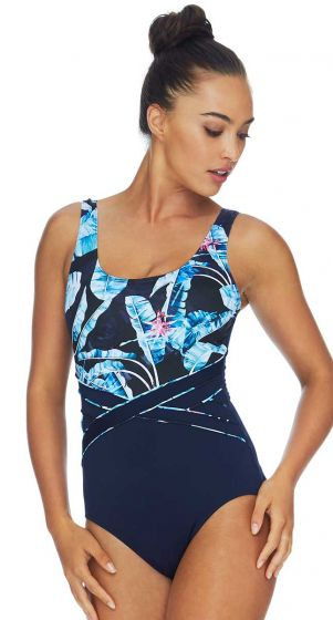 Poolproof Tropican Waist Piped Chlorine Resistant One Piece Swimsuit