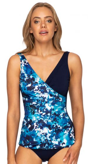 Poolproof Chlorine Resistant Floral Tiedye Sheath One Piece Swimsuit - Navy
