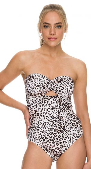 Sunseeker Panthera Tie Front Bandeau One Piece Swimsuit