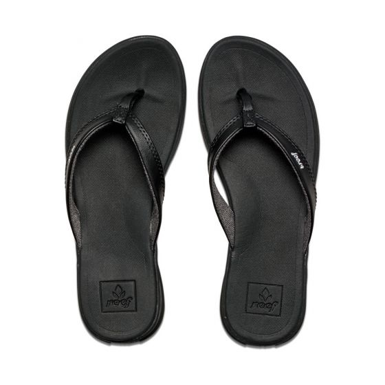 Reef Footwear Rover Catch Black Faux Leather Strap, Super Soft Footbed Thongs