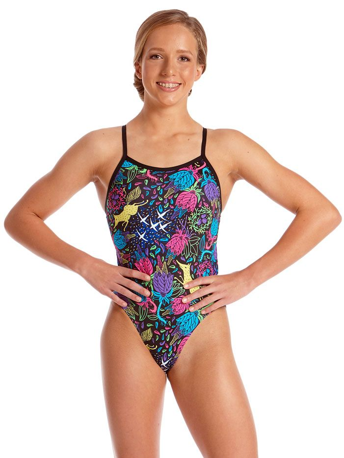 91e76a5e0a Amanzi Young Girls Chlorine Resistant Wild Aster One Piece Swimsuit