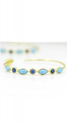 aegeanblue Loop Earrings Blue Turquoise & Sapphire: 4×4 mm Size: 40 mm Gold Plated – Sterling Silver 925