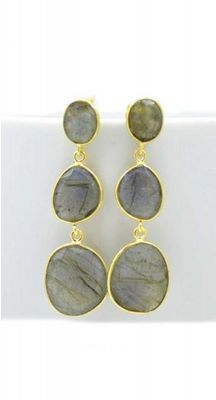 aegeanblue Labradorite Earrings Moonstone : 9×9 & 13×11 mm Total Length: 37 mm Gold Plated – Sterling Silver 926