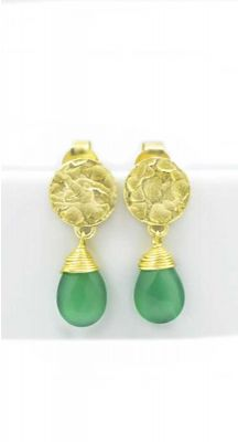 aegeanblue Green Onyx Earrings Total Length: 25 mm Gold Plated – Sterling Silver 925