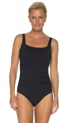 Togs Square Neck Binding Black One Piece Swimsuit