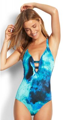 Seafolly Ocean Ombre Deep V Maillot One Piece Swimsuit