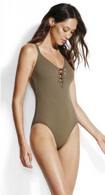 Seafolly Inka Rib Lace Up Maillot One Piece Swimsuit