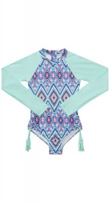 Seafolly Girls Aztec Folk Long Sleeve Surf Tank