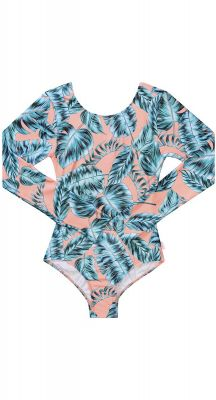 Seafolly Girls Native Jungle Long Sleeve Cut Out Surf Tank