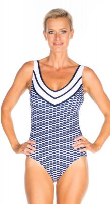 Togs V Neck Navy Ripple One Piece Swimsuit