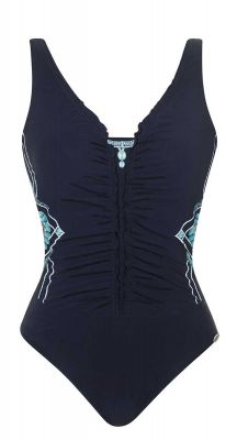 Sunflair G Cup Blue Charm Ruched Front One Piece