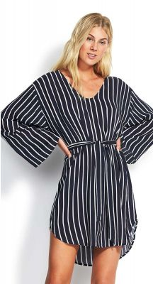 Seafolly NEW SPORT Stripe Long Sleeve Coverup