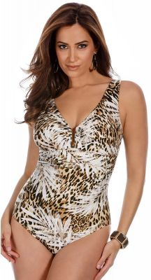 Miraclesuit Sheer Safari Palisades Brown Body Shaping Swimsuit