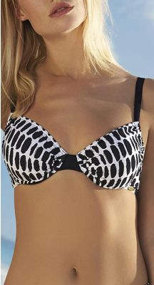 Sunflair E + F Cup Black Traces Full Bust Bikini Top With Underwire Support