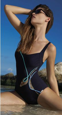 Sunflair D - E Cup Chlorine Resistant Swimsuit With Beach Peacock Splicing And Soft Cups