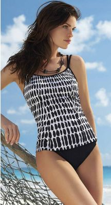 Sunflair E-G Cup Black Traces Tankini Set With Underwire