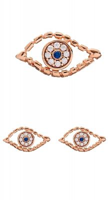 aegeanblue slanted eye earrings 925 sterling silver stud in rose gold