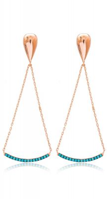aegeanblue turqoise stone long earrings handmade in 925 sterling silver and rose gold
