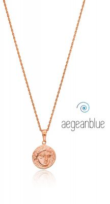 aegeanblue ancient coin medallion on long necklace