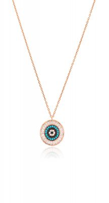aegeanblue Paros Baguette Pendant Necklace handmade in Sterling Silver and Rose Gold