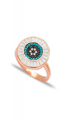 aegeanblue Paros Baguette Ring handcrafted in Sterling Silver and Rose Gold