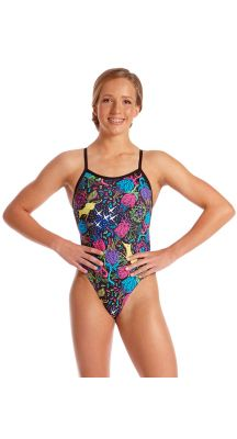 Amanzi Young Girls Chlorine Resistant Wild Aster One Piece Swimsuit