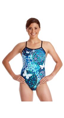 Amanzi Womens Chlorine Resistant Butterfly Kisses One Piece Swimsuit