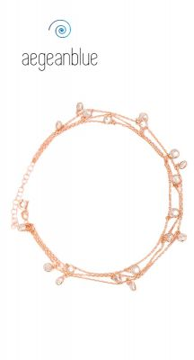 aegeablue Wandering Gypsy Chain Anklet handmade in Sterling Silver and Rose Gold