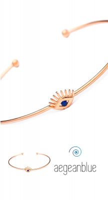 aegeanblue Petite Evil Eye Cuff Bangle - adjustable