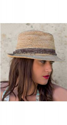 Before Dark Castaway Raffia Trilby In Taupe
