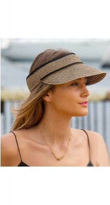 Summer Living Cosmopolitan Braided Visor In Black/Tan