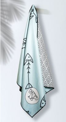 Sky Gazer Luxury beach Towel in Pouch - Coogee