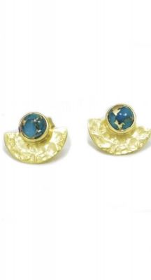 aegeanblue Warrior Earings - Blue Copper Turquioise Stone, Gold Plated, Sterling Silver 925. Total Size 15 x 10mm