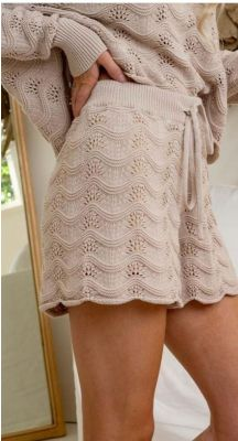 Eleni Beige Knitted Shorts - Cotton with lining
