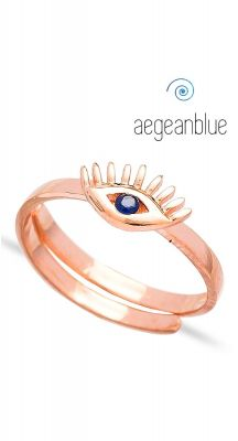 aegeanblue petite evil eye ring - adjustable