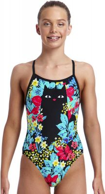 Funkita Scaredy Cat Single Strap Girls Chlorine Resistant One Piece