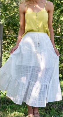 Wandering Gypsy Maxi Skirt with Shell Details - White Textured Cotton