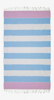 Aegeanblue Island Hopper Traditional Turkish Towel with Zip Pocket- Pink Blue