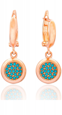 aegeanblue Ithaki Earrings handcrafted in Sterling Silver, Rose Gold and Turquoise Stones