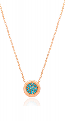 aegeanblue Ithaki Turquoise Necklace handcrafted in Sterling Silver, Rose Gold and Turquoise Stones