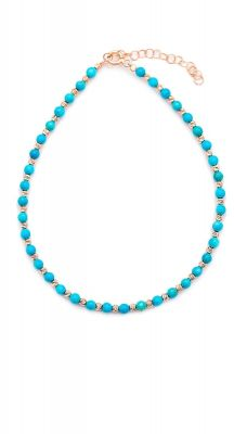 aegeanblue Lucy anklet handcrafted in silver, rose gold and turquoise stones