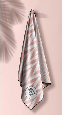 Sky Gazer Luxury beach Towel in Pouch - Noosa Coral