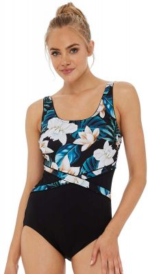 Poolproof Tropic Champagne Splice Mastectomy Suitable One Piece Swimsuit - Chlorine Resist