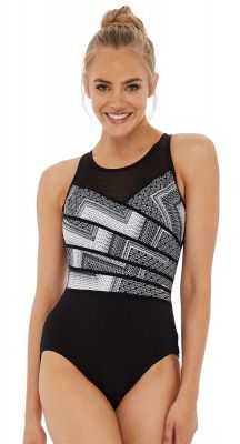 Poolproof Chevron Print High Neck Mastectomy Suitable One Piece Swimsuit - Chlorine Resist