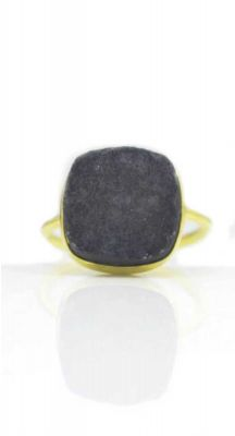 aegeanblue Black Druzy Ring Gold Plated – Sterling Silver 925
