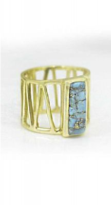 aegeanblue Blue Turquoise Cage Ring Gold Plated – Sterling Silver 925