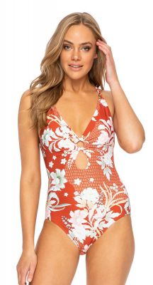 Sunseeker Tangelo Double Ring Cross Back One Piece Swimsuit - Copper